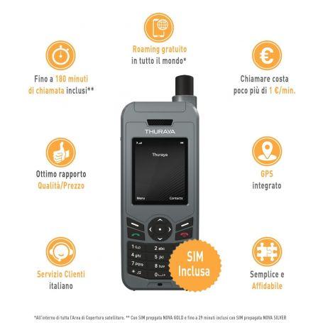 TELEFONO THURAYA  XT-LINE COMPL. DI SIM NOVA SILVER